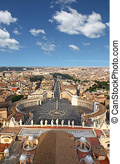 Rome, Italy Famous Saint Peters Square in Vatican and aerial...