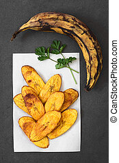 Fried Ripe Plantain Slices - Fried slices of ripe plantains,...