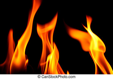 fire on black close up abstract background