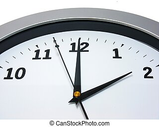2 oclock on wall clock - Top area of a wall clock showing 2...