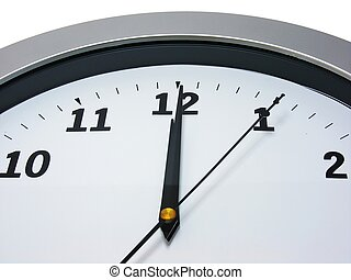 12 o'clock on wall clock - Top area of a wall clock showing...