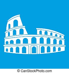 Roman Colosseum icon white isolated on blue background...