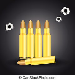 Weapon bullets and bullet holes isolated on gray background...