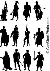 12 Knight Silhouettes - Set of 12 silhouettes of Knights in...