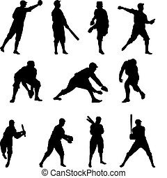 Baseball Player Silhouette Set Two - Set of 11 baseball...