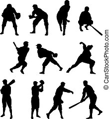 Baseball Player Silhouette Set One - Set of 11 baseball...