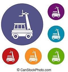 Cherry picker icons set in flat circle red, blue and green...