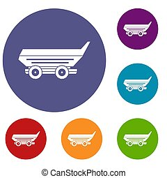 Car trailer icons set in flat circle red, blue and green...
