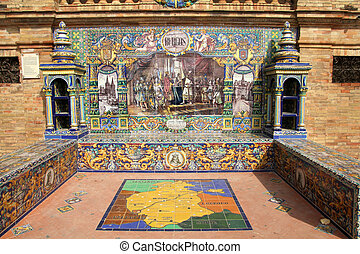 Burgos in Sevilla - Famous ceramic benches in Plaza de...