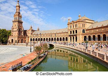 Seville - Famous Plaza de Espana, Sevilla, Spain. Old...