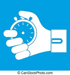 Hand holding stopwatch icon white isolated on blue...
