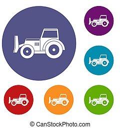 Skid steer loader icons set - Skid steer loader bulldozer...