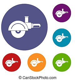 High speed cut off machine icons set in flat circle red,...