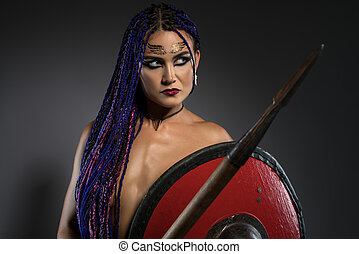 Horsewoman with African braids, spear and shield - Sexy...