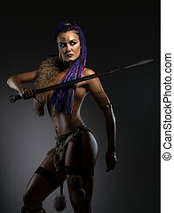 Horsewoman with African braids in sexy underwear - Sexy...