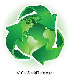Recycle symbol - Recycle Symbol with Earth on white...