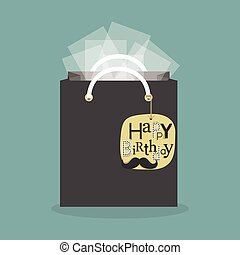 black abstract gift bag and tissue papers with hanging happy...