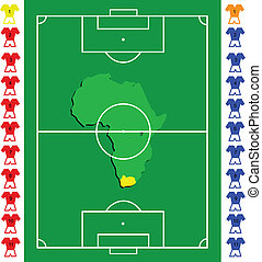 A soccer or football tactical vector  exact scale pitch