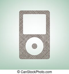 Portable music device. Vector. Brown flax icon on green...