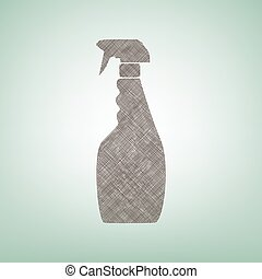 Plastic bottle for cleaning. Vector. Brown flax icon on...