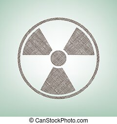 Radiation Round sign. Vector. Brown flax icon on green...