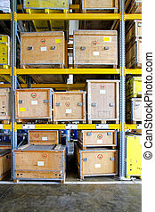 Crates - Transportation crates at shelf in museum warehouse...