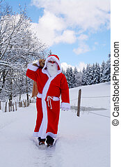Santa Claus, Father Christmas in a beautiful winter...