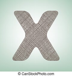 Letter X sign design template element. Vector. Brown flax icon on green background with light spot at the center.