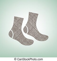 Socks sign. Vector. Brown flax icon on green background with...