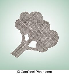 Broccoli branch sign. Vector. Brown flax icon on green...