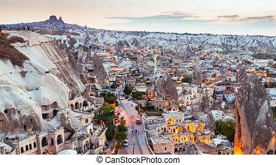 Pan Timelapse view of Goreme village in Cappadocia at...
