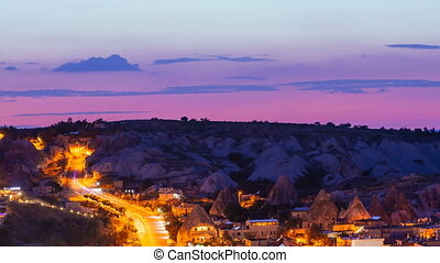 Zoom out Timelapse view of Goreme village with beautiful sky...