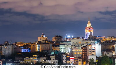 Pan shot timelapse of beautiful Istanbul cityscape with Galata Tower and floating tourist boats in Bosphorus