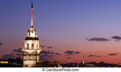 Zoom out timelapse of Maiden Tower or Kiz Kulesi with...