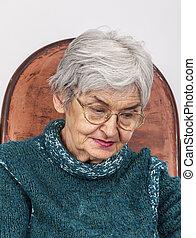 Portrait of a Sad Old Woman - Portrait of a sad old woman...