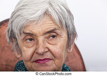 Portrait of an Old Woman - Portrait on a wrinkled old woman...