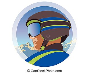 male skier with grey helmet and goggles profile view - male...