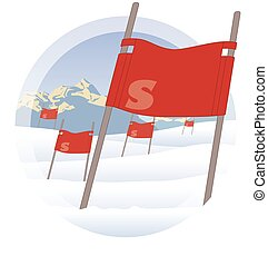 ski flags on ski hill with mountains in the background - red...