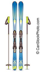 pair of skis and ski poles - pair of skis blue and green...