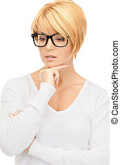 pensive businesswoman over white - bright picture of pensive...