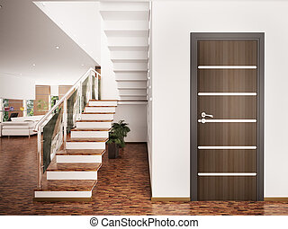 Entrance hall interior 3d render - Interior of modern...