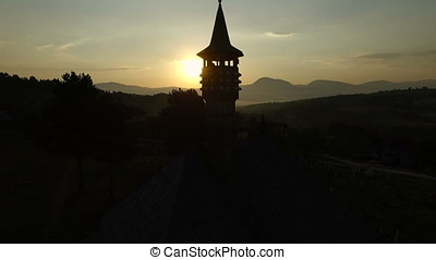 Beautiful sunrise over old mosque in Bosnia and Herzegovina.