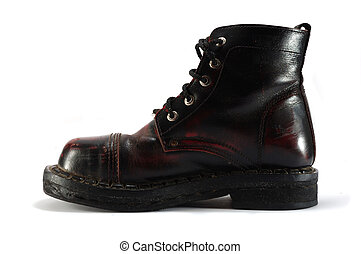 Old leather dark red tourist shoe on white background