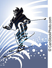 Downhill Skiing - Downhill skier illustration.
