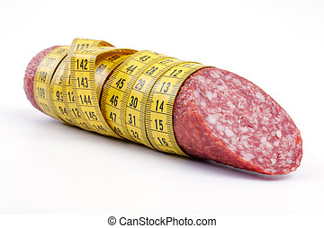 Sausage with a measuring tape