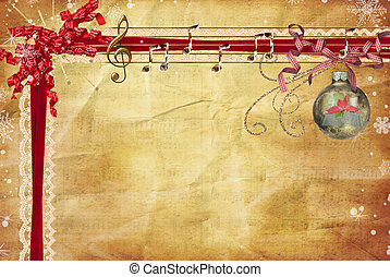 Musical Gift - Red ribbon with music on old paper...