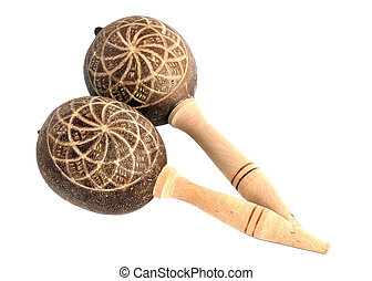 maracas - Maracas, a musical instrument on white background