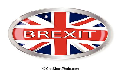 Brexit Union Jack Oval Button - Oval silver button with the...
