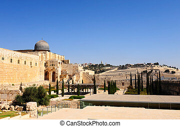 Temple Mount - View of the Mount of Olives, Temple Mount and...