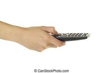 remote control - A hand holding a remote control isolated...